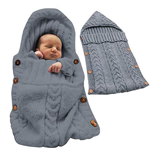 Tomwell Schlummersack Unisex Neugeborenes Baby Gestrickt Wickeln Swaddle Decke Babydecken Pucktücher Schlafsack für 0-12 Monat Baby Grau 72X35 cm