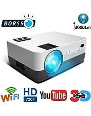 BORSSO Moon 71 HD WiFi YouTube LED Projector 3000 Lumens HD
