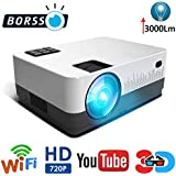 BORSSO™ Moon 7.1 HD Wi-Fi YouTube, LED Projector 3000 Lumens, HDMI USB VGA AV, HD 720p, Silver Black