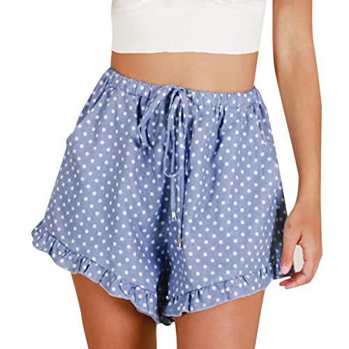 Ausgefranste Saum Kurze (Deloito Sommer Frauen Lässig Kurze Hosen Punkt Gestreift Drucken Hot Pants Damen Bogen Lose Shorts (Blau,Small))