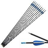 SHARROW Freccia di Carbonio 32 Pollici Frecce per Bersagli Spine 1200 Frecce in Carbonio Frecce per Arco Compound Ricurvo (12)