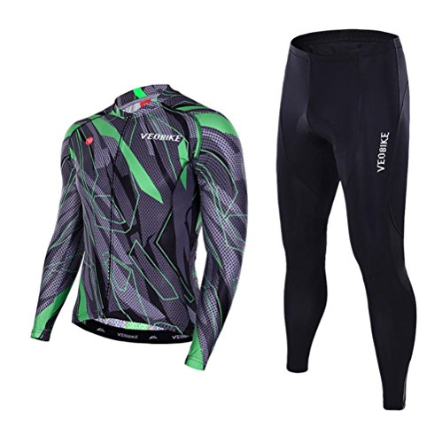 Beauty leader Men's Breathable Quick-Dry Cycling Jerseys Full-Zip Long Sleeve Jersey Pants Bicycle Clothing Sets Suits Bike Racing Mountain Biking Outdoor Sportswear, 002, XXL - Full-zip Long Sleeve Jersey
