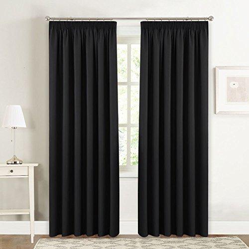 PONY DANCE Cortinas Negras Opacas para Dormitorio Modernas Cortinas Fruncidas Riel de Salon, 167 x 228 cm (An x Al), 1 Par