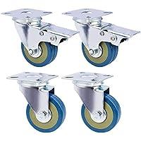 GBL® 4 x Castor Wheels 50mm Heavy Duty Castors Swivel Wheel Rubber Casters for Furniture Table Trolley Workbench Garage