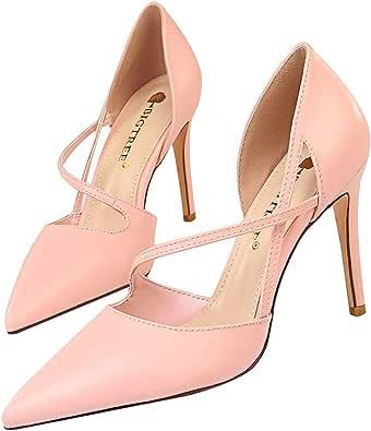 Minetom Sandali Donna Estate Party Pelle Moda Cava Dolce Elegante Colore Misto Sandals Bocca Superficiale Sottile Tacco Alto Bride di Festa