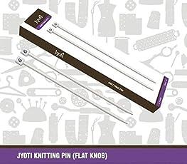 Jyoti Aluminium Knitting needle with 6 to 12 Flat Knob (25cm) - Set of 7