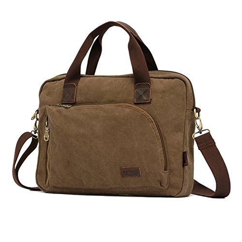 Xiaokesong® Herren Schultasche umhängetasche Herren Canvas Messenger bag Ideal für Büro, Studium Reise oder Freizeit Outdoor (Schwarz) Khaki