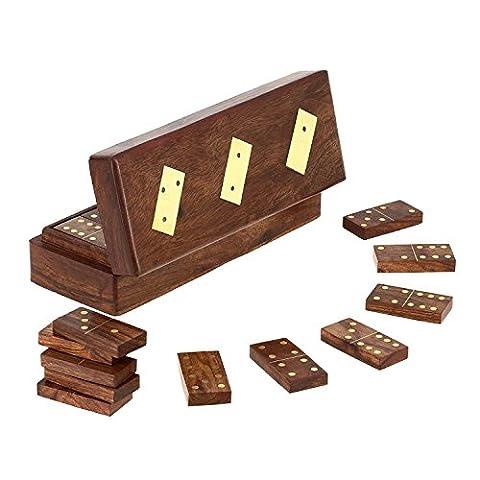 Jeu de tuiles de domino en bois fait à la main dans la boîte de rangement - jeu complet de jeu