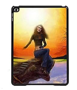 PRINTVISA Girl sit sad movement Premium Metallic Insert Back Case Cover for Apple IPad 6 - D5852