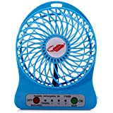 Mantavya Portable Rechargeable LED Fan Air Cooler Mini USB Rechargeable 3 Speed Fan (Blue)