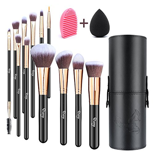 Makeup Brushes, Qivange 12pcs Makeup Brush Set with Holder Foundation Brush Eye Makeup Brushes Eyebrow Brush Full Set with Blending Sponge and Makeup Brush Cleaner(Black with Rose Gold)