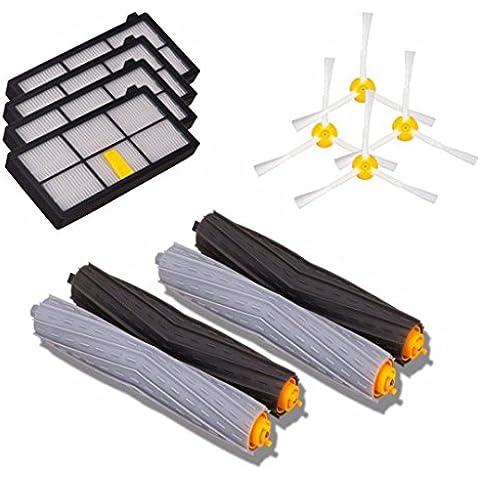 Lacaca Kits de repuesto para iRobot Roomba 800/900Series 870880980Aspiradora accesorios kits-includes 800–Pack de 4cepillos laterales, 4unidades 800Series Filtros Hepa, 2unidades, Aeroforce (Acero Rápido
