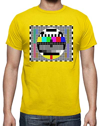 Mens T-Shirt Test Card Lemon Yellow - Many Colours Available - S to XXL