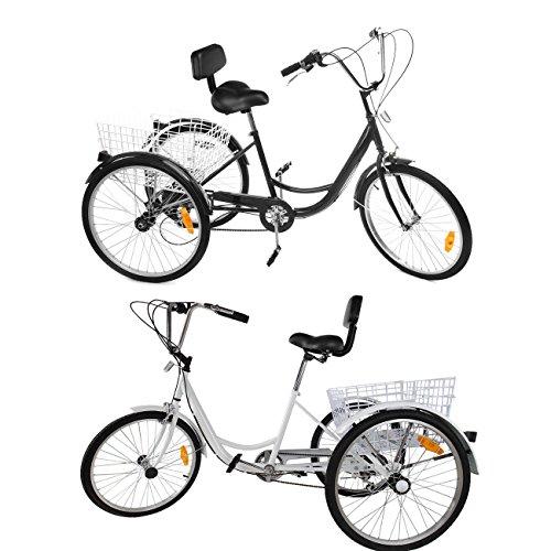 Ridgeyard 24Bicicleta Blanca de 3 Ruedas Triciclo Grande Cómodo y Práctico para Adulto 6Velocidades Sillín cómodo con respaldo y con 1 Cesta en la Parte Trasera Para la Compra