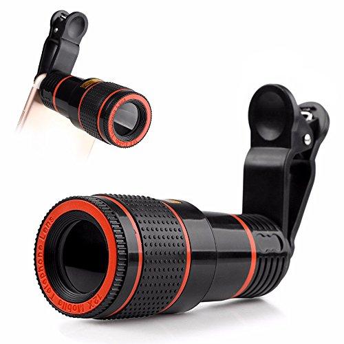 Galleria fotografica Phone camera Lens kit, universale 12x Zoom ottico monoculare esterna teleobiettivo con clip universale per iPhone 7/7Plus/6/6S Plus/se, LG, HTC, Huawei, Samsung e altri smartphone