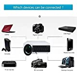 PLAY™ Projector Full HD Video 3D LED USB+HDMI Ports Home Theater Projector 4000lms For Entertainment (White & Black Shade Finishing) - 1 Year Warranty With Customer Service