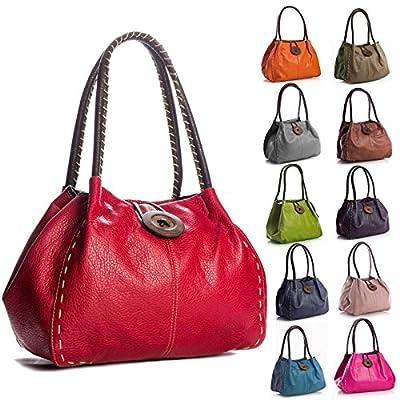 Designer Made Faux Leather Large Button Handbag Shoulder Bag