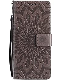 DENDICO Galaxy Note 8 Hülle, Premium Leder Wallet Tasche Etui Sonnenblume Prägung Hülle mit Magnetverschluss, Flip Brieftasche Handy Schutzhülle für Samsung Galaxy Note 8 - Grau