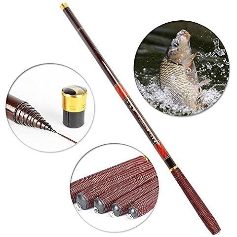 2.7m-7.2m Portable Spinning Canne à Pêche Fishing Rod Télescopique en