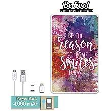 Becool® - Batería Externa Power Bank 4000 mah + Gratis 1 cable USB-MicroUsb (Android) y adaptador lightning (Apple). Razón para sonreír