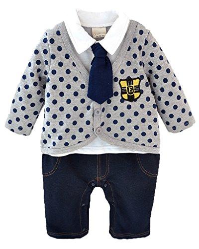 Minetom Bambino Ragazzi 1 Pc Pagliaccetto Neonato Tute A Manica Lunga A Pois Jeans Bodysuits Grigio 80