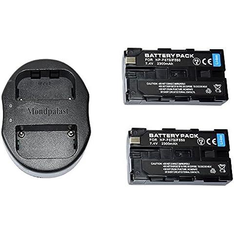 Mondpalast @ 2X Reemplazo Li-ion batería NP-F550 NP-F570 NP-F330 NP-F530 2300mah 7,4V + 1x USB Cargador Doble para Sony CCD-RV100, CCD-RV200, CCD-SC5, CCD-SC6, CCD-SC55, CCD-SC65, CCD-TRV66, CCD-TRV67, DCM-M1, DCR-SC100, DCR-TR7, DSC-CD250, DSC-CD400, DSC-D700, DSC-D770, D-V500, EVO-250, GV-A100, GV-A500, HDR-AX2000, HDR-FX7, HDR-FX1000, HVR-M10P, HVR-M10U, HVR-V1J, HVR-V1U, HVR-Z7U, HXR-NX5U H-126