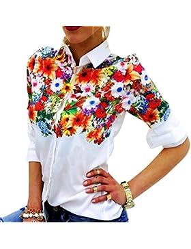 SaiDeng Mujeres Blusa De Flores Blusa De Manga Larga Camisas De La Gasa De Cuello