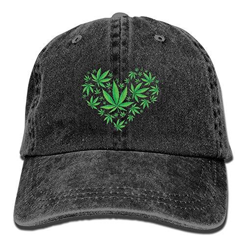 Heart Marijuana Leaf Weed Love Pot Unisex Washed Twill Cotton Baseball Cap Vintage Adjustable Hat - Flask Pots