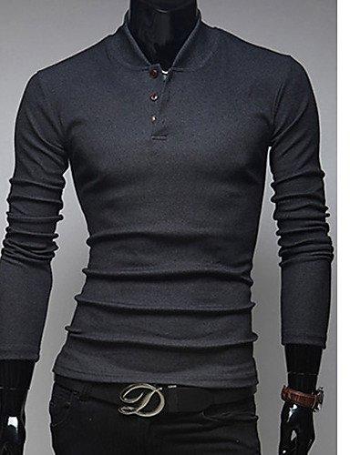 XX&GX bikelun coreano maglieria del collare del basamento sottile (grigio scuro) , gray , l