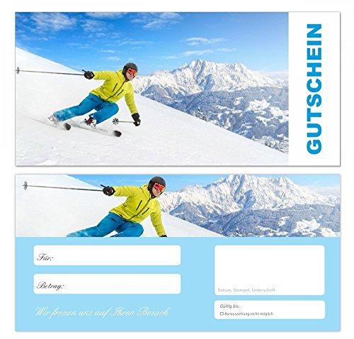10 Stück Premium Geschenkgutscheine (Ski-678) - Ein schönes Produkt für Ihre Kunden Gutscheine Gutscheinkarten für Bereiche wie Sport, Reisen, Reisebüros, Urlaub, Skifahren, Erholung, Winter und vieles mehr