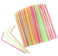 ChefLand Flexible 400 Count Disposable Drinking Straws, Neon