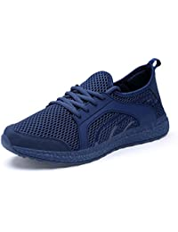 QANSI-Hombre Zapatillas de Running de Malla Transpirable Zapatos Deportivos en Gimnasio
