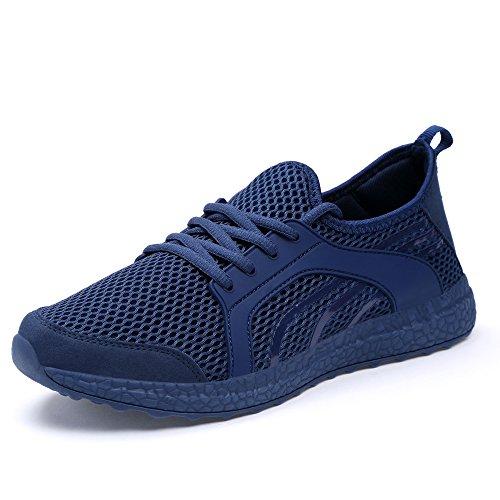 QANSI Chaussure de Course Basket en Mesh Réspirant et Léger Mixte Adulte Bleu