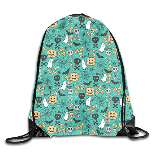 Bags Halloween Doodle with Skulls Bat Pumpkin Spiderweb Ghost On Green Tiny Small Sport Athletic Gym Sackpack for Men Women ()