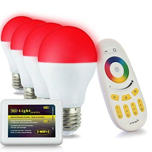 4x WLAN LED Lampe original MILIGHT® Color RGB- Warm Weiß, 6 Watt, E27, dimmbar, mit 4 zone Fernbedienung, Farbwechsel Glühbirne, inkl. Wlan Controller steuerbar über IPhone / Android App