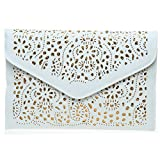 SUMAJU Satin Evening Bag, Ladies Envelope Clutch Handbags Hollow Out Ethnic Retro Shoulders Geometric Bags White