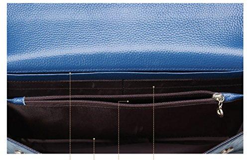 Borsa Da Sera A Tracolla Con Pochette Donna In Pelle Qqb059 E-girl, 28x2x15.5 Bxtxh (cm) Blu