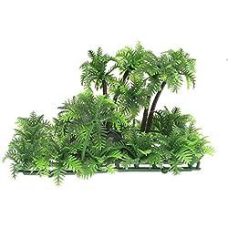 Soccik Künstliche Kokospalme Pflanze Lebensecht Plastik Meer Pflanzen Fischglas Aquarium Unterwasser Künstlich Wasserpflanze Dekoration Fuer Aquarium Fisch Tank Gruen