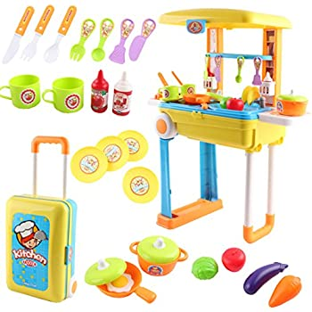 Kitchen Little Chef Set 2 In 1 Convertible Suitcase Portable Playset Carrycase K