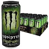 Monster Energy Flavour Rehab Green Tea mit Tee Extrakten & tropischen Säften - ohne Kohlensäure/Energy Drink Palette mit 24 x 500ml Dosen/2in1 Energie Getränk & Eistee!