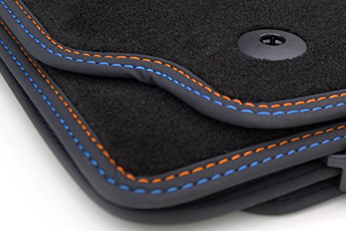 kh Teile Fußmatten / Velours Automatten Premium Qualität Stoffmatten 4-teilig schwarz Nubukleder Einfassung Doppelnaht orange/blau