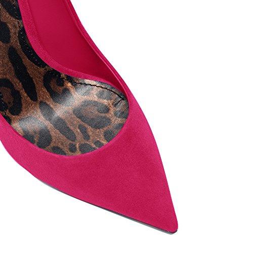 Damen Pumps High-Heels Stiletto Fellsamt Hochzeit Party mit Leoparden Sohle Dunkelrot
