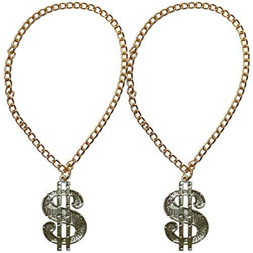 2 x Dollar Medaillon mit Kette für Big Daddy, Gangsta Rapper, Kostüme zum Protzen (Big Dollar Daddy Kostüm)