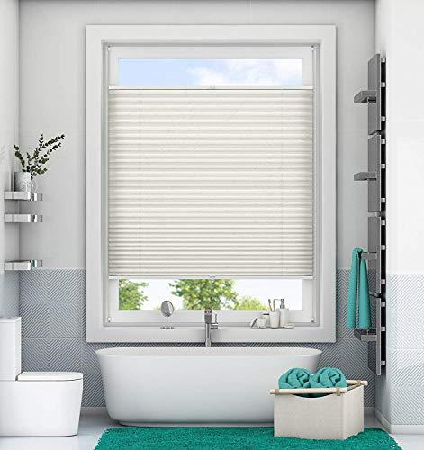 Store Plissé Klemmfix Tamisant 85 x 200 cm (LxH) Beige store plissé translucide Easyfix avec Clips pour la fenêtre porte sans Perçage ni vise