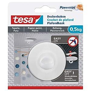 Tesa 77781 Deckenhaken Tapeten & Putz-Selbstklebender ideal zur Befestigung von Deko-Objekten-hält bis zu 0,5kg/Haken-spurlos ablösbar, Weiß
