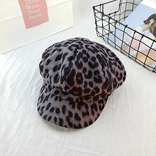Weiblicher Hut Retro Leopard achteckige Kappe Britische Barett Street Cap Hut (Farbe : Grau)