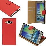 Samsung Galaxy A3 2016 Echt Leder Tasche Schutzhülle Bookstyle Buchtasche Rot von cTRON21