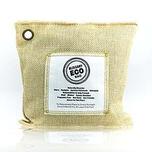 BLISSANY Aktivkohle Lufterfrischer aus 100 % natürlicher Bambus Kohle, ideal für Auto, Wohnmobil, Küche, Schrank, Garderobe, entfernt unangenehme Gerüche auf natürliche Art (Sand)