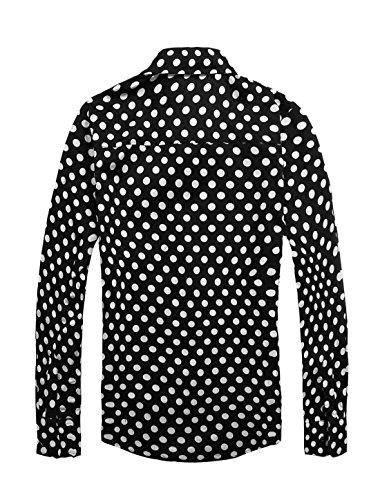 Allegra K Hommes 100% Coton À Pois Slim Manches Longues Chemise Robe Noir