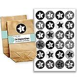Papierdrachen Adventskalender Set - 24 braune Geschenktüten mit 24 schwarz weißen Aufkleber Zahlen - zum Selbermachen - Adventskalender zum Befüllen - Mini Set Nr 30
